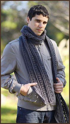 Gentlemen's Scarf, free crochet pattern in Red Heart Super Saver by YARNutopia.