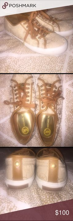 Michael kors sneakers Like new Michael kors sneakers! Worn once still in perfect condition! Can't find the size anywhere but I'm an 8 and they fit great! Michael Kors Shoes Sneakers