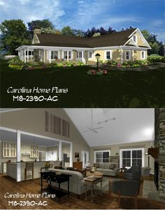 images of midsize country style wrap-around porch house plan with open floor plan, ideal for families, view images to easily visualize this home plan with house plan views. 3d House Plans, Porch House Plans, Country Style House Plans, Colonial Williamsburg, Farmhouse Plans, Open Floor, Future House, The Help, Floor Plans