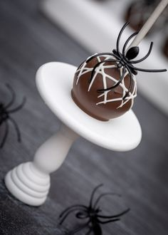 Learn how to make these Easy Spider Web Cake Pops! The spider ring you can wear after you eat the Cake pop is added fun! Great for Party Favors or Halloween Halloween Cake Pops, Halloween Kids, Halloween Party, Spider Web Cake, Diet Cake, Cake Pops How To Make, Almond Bark, Melting Chocolate, Food Processor Recipes