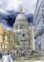 St Pauls Cathedral by Thomas Paul Lewis - Watercolour on NOT medium paper London Sketch, London Drawing, Open Art, Art N Craft, Greater London, London Art, Urban Sketching, Taj Mahal, Cathedral