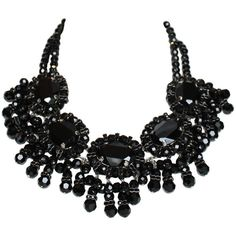 Pre-owned Francoise Montague Black Glass and Swarovski Crystal Fringe... ($1,155) ❤ liked on Polyvore featuring jewelry, necklaces, beaded necklaces, fringe necklace, black beaded choker, beaded choker necklace, chain choker necklace and black choker