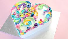NEW VIDEO! Rainbow heart cake with a pretty quilling effect, and a rainbow centre.  https://youtu.be/W6ft8Bf-LKE