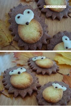 Kleefalter: Igel-Guetzli mit selbstgemac… Clover butterfly: hedgehog biscuits with homemade cutters Hedgehog Cookies, Hedgehog Cake, Hedgehog House, Cute Cookies, Fall Cookies, Homemade Cookies, Food Humor, Cute Food, Creative Food