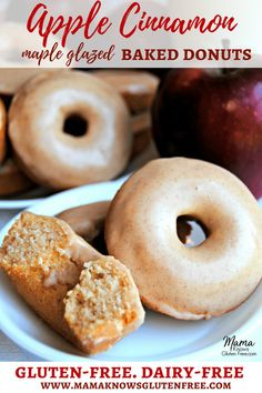 These easy baked gluten-free apple cinnamon donuts with maple cinnamon glaze will be your family's favorite fall breakfast treat. An easy gluten-free breakfast. Dairy-free too. Recipe from www.mamaknowsglutenfree.com #glutenfree #dairyfree #donuts #easyreipe #glutenfreebreakfast