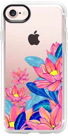 Casetify iPhone 7 Classic Grip Case - spring water lily and blue leaves cascade floral garden clear print by Carla Zancanaro  #spring #floral #iphone #phonecase #pink #festival #lilies #flower #waterlily #leaves #blue #plant #botanic #nature #fashion #fashionblogger #accessories #tech #clearcase #ihonecase