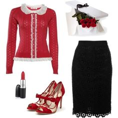 Date Night: Moschino Cheap & Chic lace macrame pencil skirt ♥ Alannah Hill she's in disguise cardigan in red ♥ Rupert Sanderson high heel peeptoe pumps ♥ MAC chilli red lipstick ♥