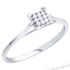 1/20 Ct Round Cut D/VVS1 Diamond 14K White Gold Over Cluster Ring Size 6 #AffinityDiamondJewelry #Cluster #EngagementWeddingAnniversaryValentines