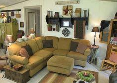 primitive country homes picture Primitive Living Room, Primitive Country Homes, New Living Room, Living Room Furniture, Living Room Decor, Cozy Living, Prim Decor, Country Decor, Primitive Decor
