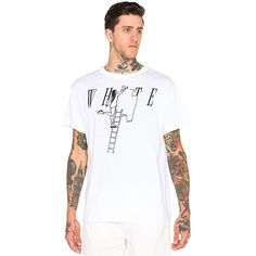 OFF-WHITE Painting Girl Tee T-Shirts ($226) ❤ liked on Polyvore featuring men's fashion, men's clothing, men's shirts, men's t-shirts and graphic tees
