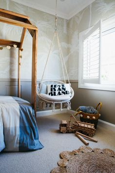 Kyal and Kara's Central Coast Australia home renovation - getinmyhome. Children's bedroom styling - love this hanging chair and rug. Bedroom Themes, Kids Bedroom, Bedroom Decor, Bedroom Ideas, Kids Rooms, Design Bedroom, Ocean Bedroom, Lego Bedroom, Warm Bedroom