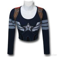 Images of Captain America Women's L/S Costume Crop Top T-Shirt