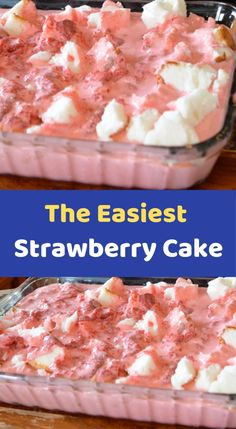 The Easiest Strawberry Cake INGREDIENTS: 1 ring Angel Food Cake (store-bought) 1 large pkg. Strawberry Jello 2 cups boiling water 1 small container frozen whipped topping (like Cool Whip) 1 large pkg. frozen strawberries (the kind that also have juice not Just Desserts, Delicious Desserts, Dessert Recipes, Angel Food Cake Desserts, Healthy Desserts, Cool Whip, Strawberry Cake Recipes, Strawberry Jello, Strawberry Angel Food Cake