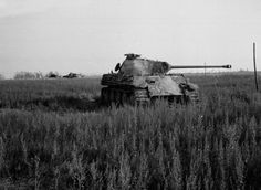Knocked out German Panther tanks in Normandy, 1944. This tank was one of seven German Panther tanks knocked out by British anti-tank guns south of Bretteville-en-Orguilleuse in Normandy