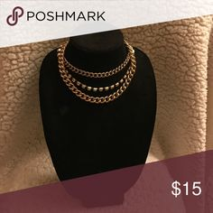 3 chain necklace This necklace has three chains- one in a chain-linked design, a short chain, and a diamond gold chain. H&M Jewelry Necklaces