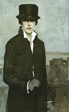 Self portrait, 1923 Romaine Brooks, born Beatrice Romaine Goddard was an American painter who worked mostly in Paris and Capri. The fortune she inherited from her mother allowed her to ignore social conventions.  She could also afford to go her own direction in her painting style. She limited her palette to mostly shades of gray with tints of ocher and sepia, giving her work a soulful, wintry feeling. Dismissed in her time, Brooks's work has increased in value and interest since the 1980s.