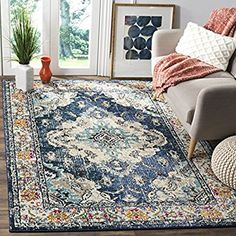 Amazon.com: Safavieh Monaco Collection MNC243N Vintage Bohemian Navy and Light Blue Distressed Area Rug (8' x 10'): Kitchen & Dining