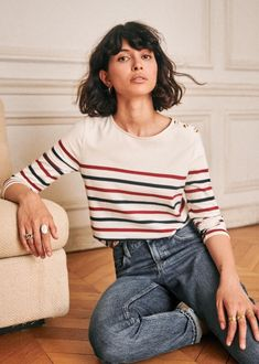 Born in Paris, by Morgane Sézalory, we're for quality, savoir-faire & the perfect cut. Striped Jersey, Couture, Mode Outfits, Pulls, Summer Collection, Style Me, Curly Hair Styles, Hair Cuts, Style Inspiration