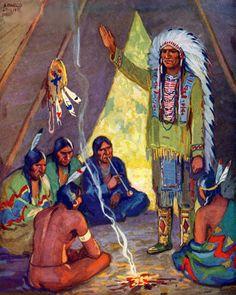 *Native American Chief speaking to Elders...Arnold LorneHicks