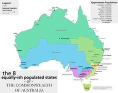 This is what the country would look like if it was divided into states of equal population. 29 Maps Of Australia That Will Kinda Blow Your Mind Asia Map, Australia Map, Australia Honeymoon, Western Australia, Coloring Pages Inspirational, Blow Your Mind, Cairns, Darwin, Cartography