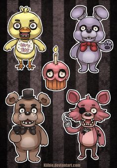 Five Nights At Freddy's Stickers by Kiibie on deviantART ...LOVE THE CUTE CUPCAKE <3
