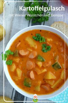 Kartoffelgulasch mit Wiener Würstchen Recipe for potato goulash with wieners and vegetables. Potato Recipes, Veggie Recipes, Baby Food Recipes, Fall Recipes, Snack Recipes, Dinner Recipes, Cooking Recipes, Healthy Recipes, Goulash