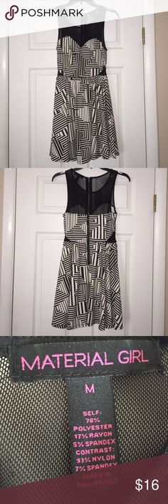 HP Black & White Asymetrical Pattern Party Dress This super cute dress is in EXCELLENT used condition! Worn only ONCE to a party a couple years ago. Colors are black & white. Top chest and back area are paneled in black sheer mesh material and the sides also have the same material as well. Zipper is in back. Brand is Material Girl and the size is M. Such a fun, cute dress to wear for different occasions!  Material Girl Dresses