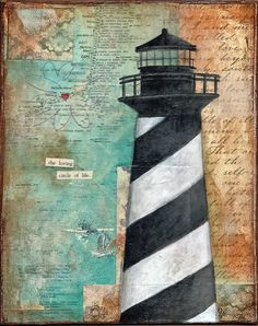 Beach Collection- Lighthouse acrylic mixed-media painting PRINT