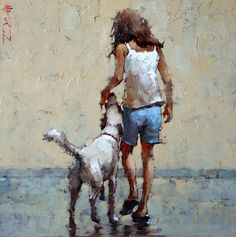 André Kohn is a Russian-born painter whose style is described as figurative impressionist. For biographical notes -in english and italian- by Kohn see: Andre Kohn, 1972 | Ladies and hats ➺ For other works by Kohn see:  Andre Kohn, 1972 | White umbrellas ➺