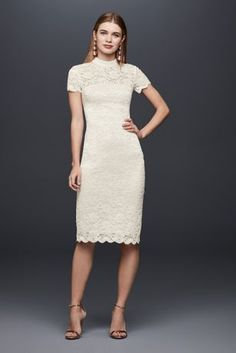 a4add3c84a Short Sheath Casual Wedding Dress - DB Studio Mock-Neck Illusion Lace Short  Dress at David s Bridal