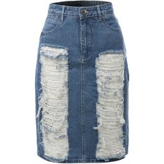 LE3NO Womens High Rise Distressed Denim Jean Pencil Skirt ($29) ❤ liked on Polyvore featuring skirts