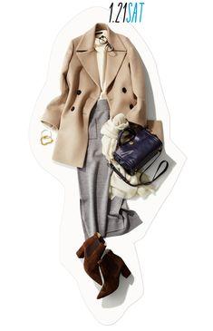 休日も通勤もOK! きちんと&マイルド色コーディネートで、冬の好感度増し♡-@BAILA Fashion D, Fashion Pants, Womens Fashion, Classy Outfits For Women, Clothes For Women, Korean Fashion Work, Mode Hijab, Fashion Colours, Business Outfits