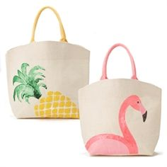 Palm Beach Expressions Sequin Icon Tote Bag Assorted 2 Designs: Flamingo or Pineapple - Jute. Material: JUTE Dimensions: W x D x 16 H) Diy Tote Bag, Reusable Tote Bags, Laptop Bag For Women, Painted Bags, Art Bag, Jute Bags, Summer Bags, Kids Bags, Cloth Bags