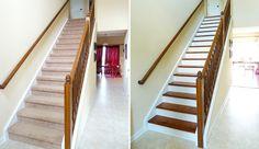 rénovation et décoration marches en peinture et habillage boi, photos avant et après