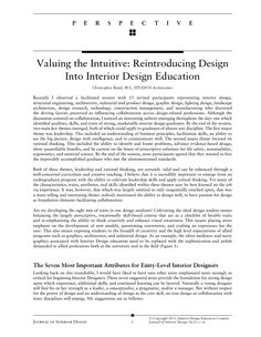 First Page Of Valuing The Intuitive Reintroducing Design Into Interior Education