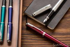 Old Stock HSL Dark Blue Aryllic Metal Fountain Pen F Nib Converter Pen