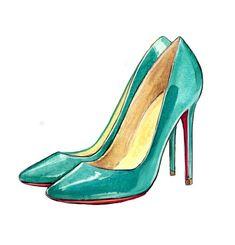 Christian Louboutin - pigalle patent leather, turquoise, blue, pumps Watercolor Illustration Art