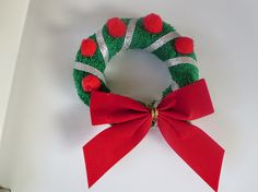 Christmas Wreaths made with washcloth
