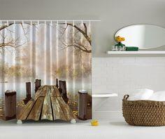 Shower Curtain Lake River Fishing Dock Sun Landscape Bathroom Decor Gift New
