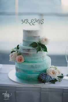 Turquoise & White semi naked, white chocolate mud cake Heavenly cakes - Cromer