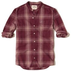 Hollister Banded Collar Flannel Shirt ($20) ❤ liked on Polyvore featuring men's fashion, men's clothing, men's shirts, men's casual shirts, men, boy, burgundy, mens burgundy shirt, mens slim fit casual shirts and mens pocket t shirts