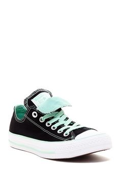 Chuck Taylor Double Tongue Oxford Sneaker by Converse  - Round rubber cap toe - Lace-up vamp - Topstitched detail - Dual tongue detail - Mid-sole stripe - Imported Materials Textile upper, rubber sole Color: Black-Pepper $50.00 Love the mint green color with the black. Great contrast!