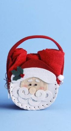 Santa Claus Basket Pouch Filled with Christmas Red Guest Hand Towels Red Christmas, Christmas Ornaments, Christmas Ideas, Hand Towels, Pouch, Santa, Basket, Cool Stuff, Holiday Decor