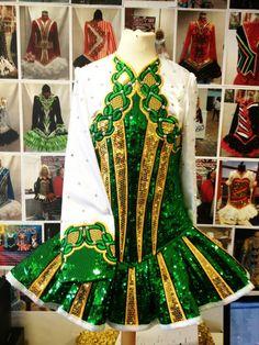 Green, Gold & White Irish Dance Solo Dress #Irish_Dancing