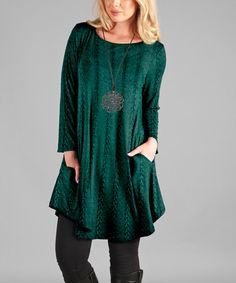 This Green Side-Pocket Cable-Knit Scoop Neck Tunic is perfect! #zulilyfinds
