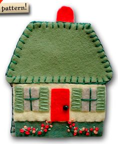 felt embroidered house with flowers