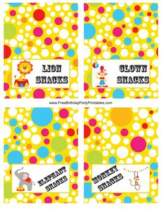 Circus Food Card Template For Free Birthday Party Printables Lion Elephant Clown Monkey Snacks.png (2550×3300)