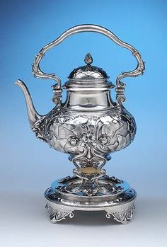 Tiffany  Co Ivy Chased Antique Sterling Silver Hot Water Kettle on Stand by John Chandler Moore, early 1860s