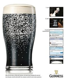 Guinness build QR code into glass - Pure Genius! Guiness Beer, Word Cv, Advertising Techniques, Guerilla Marketing, Internet Marketing, Creative Advertising, Advertising Ads, Marketing Technology, Gourmet