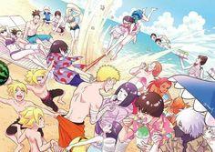 Haha :)) New and Old Generation at the beach : Naruto, Hinata, Kakashi, Guy, Choji, Karui, Temari, Shikamaru, Ino, Sai, Sakura, Sasuke, Rock Lee, TenTen, Boruto, Sarada, Inojin, Shikadai, Metal Lee, Himawari, Mitsuki, Cho-cho ♥♥♥